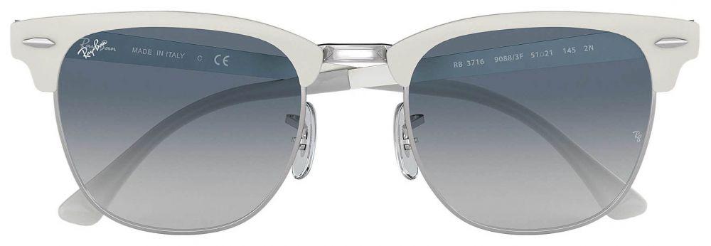 cd2240c183ac14 Lunettes de soleil Ray-Ban Clubmaster Metal Blanc RB3716 9088 3F 51 ...